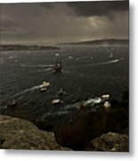 Tall Ships Heavy Rain And Wind In Sydney Harbour Metal Print
