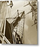 Tall Ships Reflected Metal Print by Robert Lacy