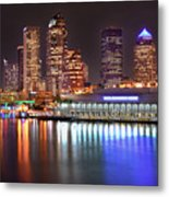 Tampa Skyline At Night Early Evening Metal Print