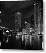Tampa Skyline West Night Black And White Metal Print