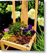 Tan Chair Planter Metal Print