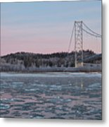 Tanana River With Pipeline - Early Morning Metal Print