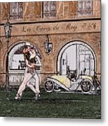 Tango Dancers In The Street Metal Print