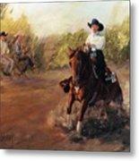 Tango Reining Horse Slide Stop Portrait Painting Metal Print