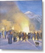 Taos Pueblo On Christmas Eve Metal Print