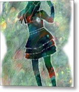 Tap Dancer 1 - Green Metal Print