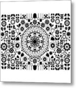 Tapiz Flores Black And White Metal Print