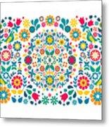 Flores Y Aves Metal Print