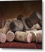 Tapped Out - Wine Tap With Corks Metal Print
