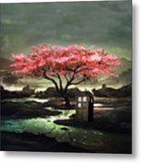 Tardis Blossom Metal Print