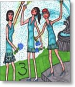 Tarot Of The Younger Self Three Of Cups Metal Print