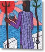 Tarot Of The Younger Self Two Of Wands Metal Print