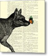 Tasmanian Tiger And Orange Butterfly Antique Illustration On Dictionary Page Metal Print