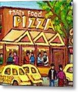 Tasty Food Pizza On Decarie Blvd Metal Print