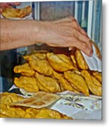 Tasty Hot Empanadas For Lunch In Angelmo Fish Market In Puerto Montt-chile Metal Print