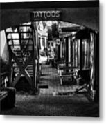 Tattoos And Body Piercing In Black And White Metal Print
