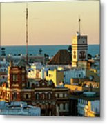 Tavira Tower And Post Office From West Tower Cadiz Spain Metal Print