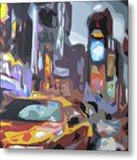 Taxi On Broadway Metal Print