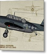 Tbm-3 Avenger Profile Art Metal Print