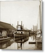 T.c. Walker Paddle Riverboat City Of Stockton Riverboat And Kath Metal Print