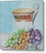 Tea Cup And Grapes Metal Print by Janna Columbus
