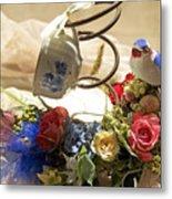 Tea Cup Bed Coil Floral Metal Print