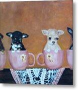 Tea Cup Chihuahuas Metal Print