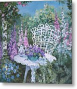Tea Time In The Garden Metal Print