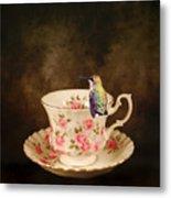 Tea Time With A Hummingbird Metal Print