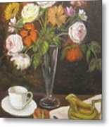 Teacup And Flowers Metal Print