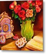 Teacup And Roses Metal Print