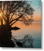 Teal And Orange Morning Tranquility With Rocks And Willows Metal Print