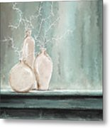 Teal And White Art Metal Print