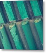 Teal Chinese Ceiling Metal Print