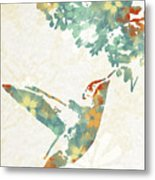 Floral Hummingbird Art Metal Print