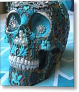 Teal Gem Art Skull Metal Print