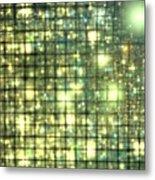 Teal Gold Cubes Metal Print