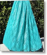Teal Green Lace Skirt. Ameynra By Sofia Metal Print