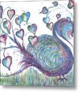 Teal Hearted Peacock Watercolor Metal Print