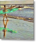 Teal Reflections Metal Print