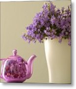 Teapot And Flowers In A Vase Metal Print