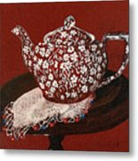 Teapot Calico Red Metal Print