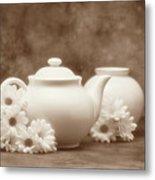 Teapot With Daisies I Metal Print