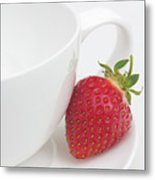 Teatime Strawberry Metal Print
