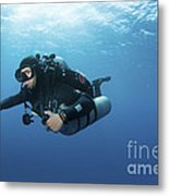 Technical Diver With Equipment Swimming Metal Print