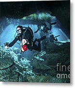 Technical Divers Enter The Cavern Metal Print by Karen Doody