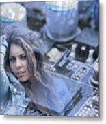 Technology Girl Metal Print