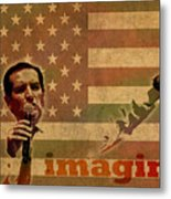 Ted Cruz For President Imagine Speech 2016 Usa Watercolor Portrait On Distressed American Flag Metal Print