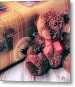 Teddy Bear And Suitcase Metal Print