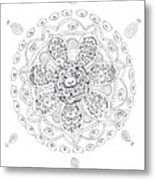 Teddy Bear Mandala Metal Print